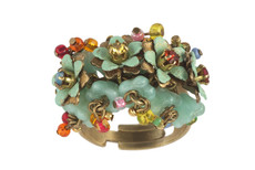 Michal Negrin Jewelry Green Flowers Ring