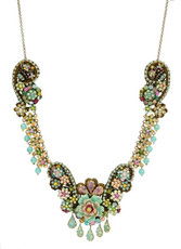 Michal Negrin Jewelry Antick Look Flower Crystal Lace Necklace - Multi Color