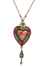 Michal Negrin Jewelry Heart With Tear Drop Necklace - Multi Color