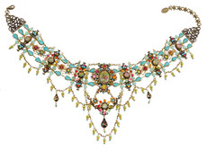 Michal Negrin Jewelry Crystal Flowers Necklace - 100-108450-001 - Multi Color