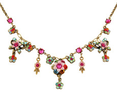Michal Negrin Jewelry Crystal Flowers Necklace - 100-108490-056 - Multi Color