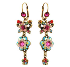 Michal Negrin Jewelry Crystal Flower Hook Earrings - 100-108501-056 - Multi Color