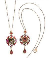 Michal Negrin Jewelry Crystal Heart Locket Necklace - 100-109350-999 - Multi Color