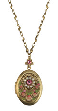 Michal Negrin Jewelry Rose Cameo Mini Locket Necklace - Multi Color