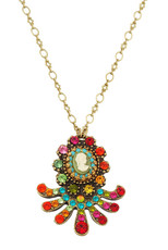 Michal Negrin Jewelry Crystal Victorian Camo Necklace - Multi Color