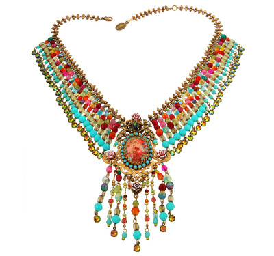 Michal Negrin Jewelry Crystal Flower Chocker Camo Necklace - Multi Color
