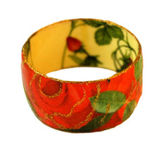 Iris Designs Cold Enamel Bangle  Decorated Flowers - One Left