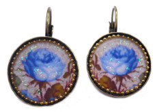 Iris Designs Round Enamel Blue Flower Romantic Drop Earrings