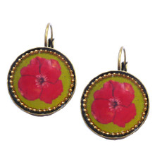 Iris Designs Round Enamel Red Floral Drop Earrings