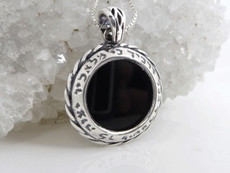 Kings Guard Blessing Silver Pendant W/ Onyx Stone