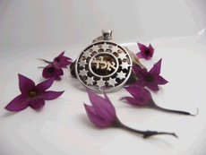 Silver And Gold Kabbalah Pendant For Protection Against Bad Eye With Stars Of David