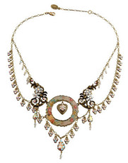 Michal Negrin Classic Heart In A Circle Flower Crystal Necklace - Multi Color