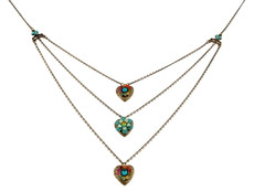 Michal Negrin Classic 3 Rows Heart Necklace