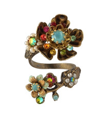 Michal Negrin Classic Crystal Flowers Adjustable Ring
