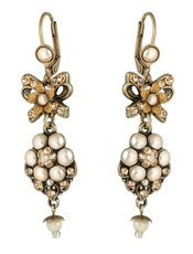 Michal Negrin Classic Flowers With A Bow Hook Earrings - Multi Color