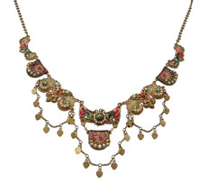 Michal Negrin Classic Antick Look With Hearts Necklace