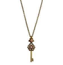 Michal Negrin Classic Crystal Flower Kabbalah Key Necklace - Multi Color