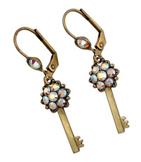 Michal Negrin Kabbalah Earrings W/Key From The Classic Collection - Multi Color