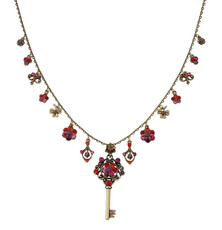 Michal Negrin Kabbalah Necklace W/Flowers And Key From The Classic Collection - 100-124550-094