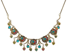 Michal Negrin Classic Flowers With Danglaing Hearts Leaves Necklace - Multi Color