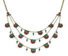 Michal Negrin Classic 3 Rows Flowers Necklace - Multi Color