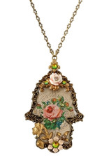 Michal Negrin Kabbalah Necklace W/Flowers And Key From The Classic Collection - 100-125280