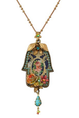 Michal Negrin Kabbalah Necklace W/Flowers And Key From The Classic Collection - 100-125290