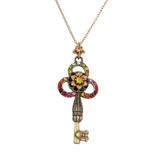 Michal Negrin Kabbalah Necklace W/Flowers And Key From The Classic Collection - 100-125610-080 - Multi Color