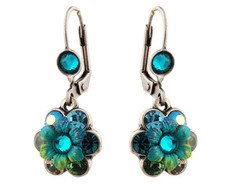 Michal Negrin Silver Crystal Flower Hook Earrings
