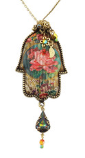 Crystal Hamsah Necklace By Michal Negrin - Multi Color