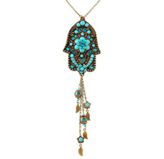 Evil Eye Hamsa Necklace With Dangle Leaves - Multi Color