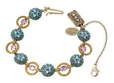Michal Negrin Classic Bracelet Circle Crystal Flowers - Multi Color