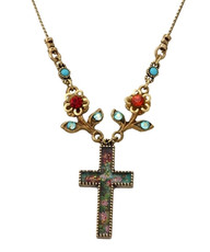 Michal Negrin Jewelry Cross Flowers Necklace - Multi Color