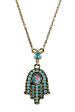 Michal Negrin Hamsa Necklace - Multi Color