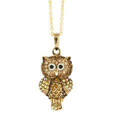 Andrew Hamilton Crawford Necklace Crystal Owl Gold