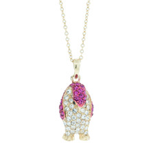 Andrew Hamilton Crawford Marching Penguin Necklace Gold Pink Necklace