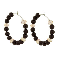 Andrew Hamilton Crawford Earrings Beaded Hoops Black
