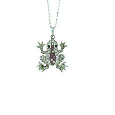 Andrew Hamilton Crawford Necklace Baby Frog Silver Purple