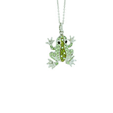 Andrew Hamilton Crawford Jewelry Baby Frog Silver Green Necklace