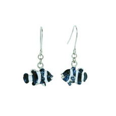 Andrew Hamilton Crawford Earrings Clown Fish Earrings Silver Blue