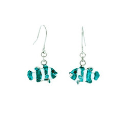 Andrew Hamilton Crawford Clown Fish Earrings Silver Teal Earrings