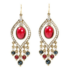 Ben Amun Jewelry Red Linear Earrings