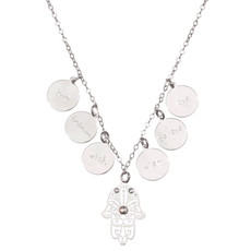 Lk Designs Jewelry Small Hamsa With Love Believe And Wish Circles Necklace - One Left