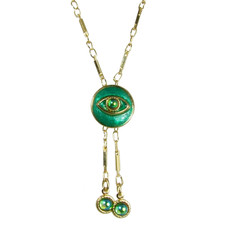 Evil Eye Necklace - Crystal Centered Eye & Teal Dangles