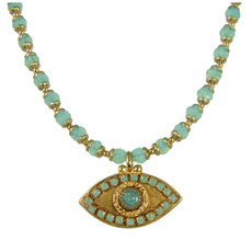 Evil Eye Necklace - Gold, Medium Eye With Opal Center