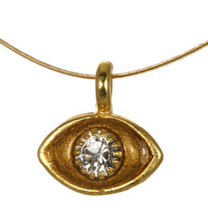 Evil Eye Necklace - Michal Golan Small, Gold Eye With Crystal Center On Gold Wire