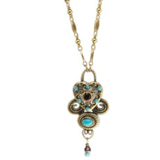 Michal Golan Necklace - Turkish Bazaar Heart Pendant With Dangle Chain