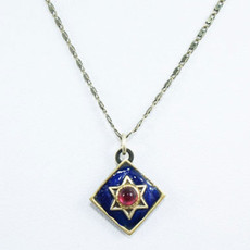 Garnet Star Of David On Navy Diamond
