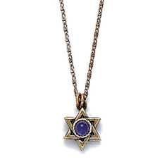 Gold Star Of David Pendant With Purple Crystal