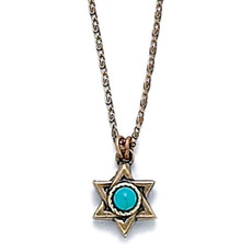 Gold Star Of David Pendant With Turquoise